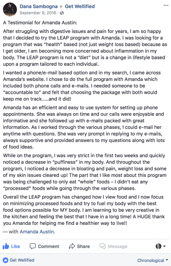 Testimonial posted on Facebook from a past client for MRT testing and LEAP program
